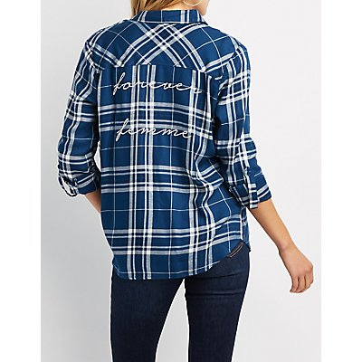 Forever Femme Plaid Button-Up Top