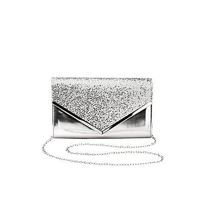 Glitter Metallic Envelope Clutch