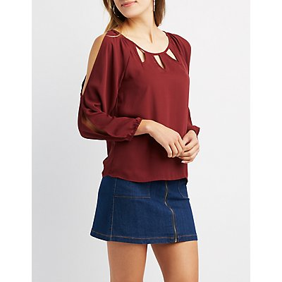 Split-Sleeve Cut-Out Top