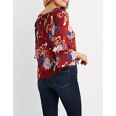 Floral Tie-Back V-Neck Top