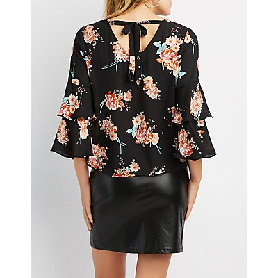 Floral Ruffle-Trim V-Neck Top