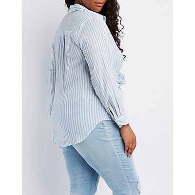 Plus Size Striped Tie-Front Button-Up Top
