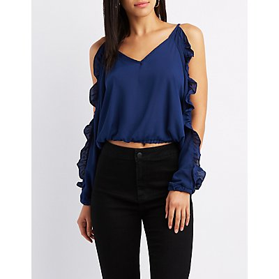 Ruffle-Trim Cold Shoulder Tie-Back Top