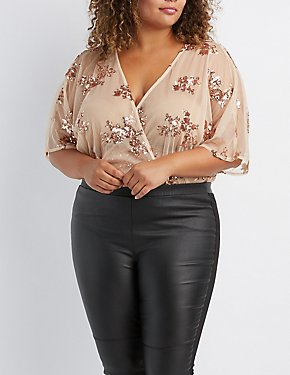 Plus Size Sequins & Mesh Surplice Bodysuit