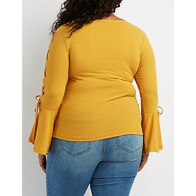 Plus Size Ribbed Knit Lace-Up Top