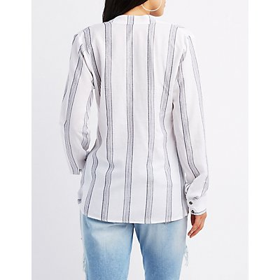 Striped Linen Split Mandarin Collar Top