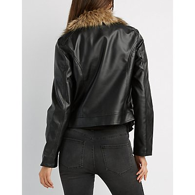 Faux Fur-Trim Moto Jacket