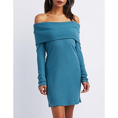 Waffle Knit Cowl Neck Sweater Dress