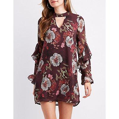 Floral Chiffon Ruffle-Trim Dress