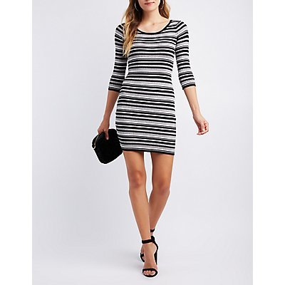 Striped Bodycon Sweater Dress