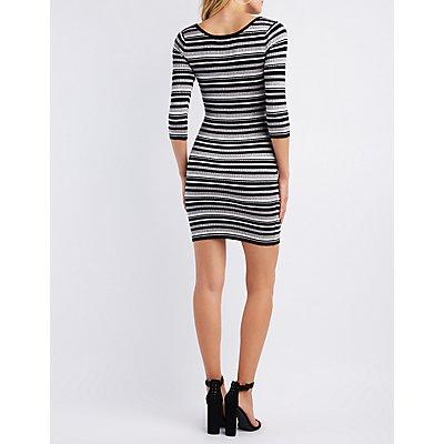 Striped & Ribbed Knit Bodycon Dress