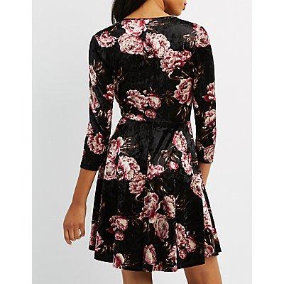 Floral Velvet Wrap Skater Dress