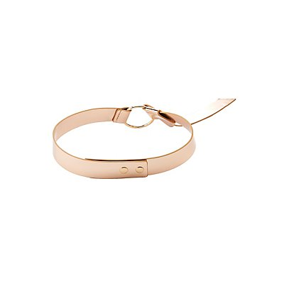 Metallic Faux Patent Ring Belt