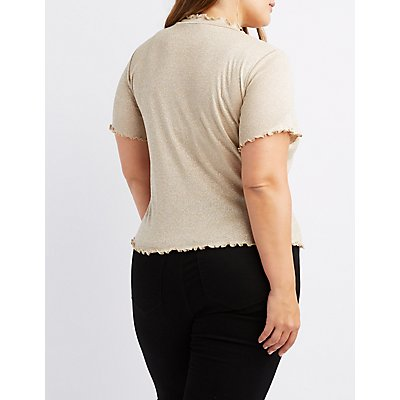 Plus Size Shimmer Knit Lettuce Edge Mock Neck Top