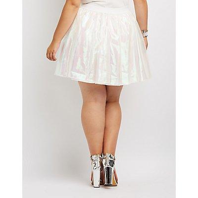 Plus Size Holographic Skater Skirt