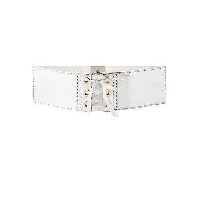 Metallic Lace-Up Waist Belt