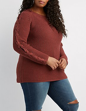 Plus Size Lace-Up Sleeve Pullover Sweater