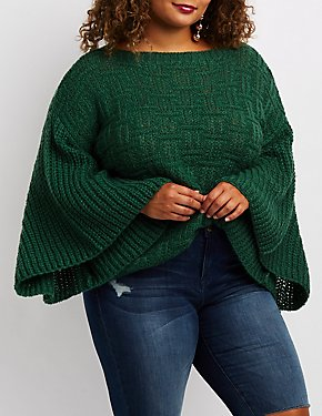 Plus Size Shaker Stitch Bell Sleeve Cropped Sweater