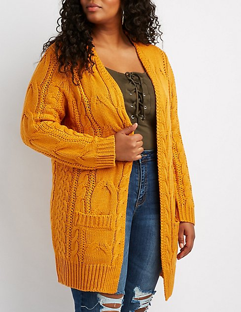Plus Size Chunky Cable Knit Cardigan Charlotte Russe