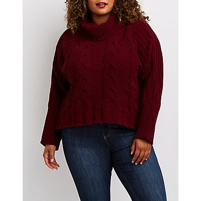 Plus Size Cable Knit Turtleneck Sweater