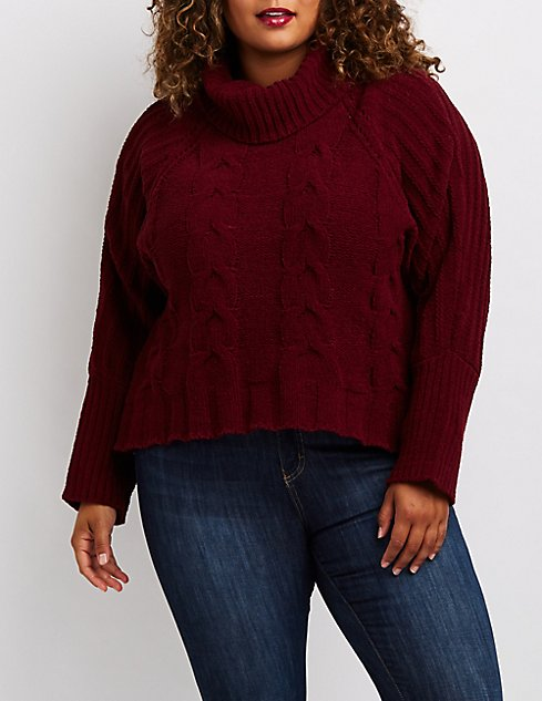 Plus Size Cable Knit Turtleneck Sweater Charlotte Russe