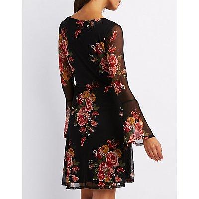 Bell Sleeves Floral Skater Dress