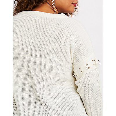 Plus Size Shaker Stitch Hoop Ring Detail Pullover Sweater
