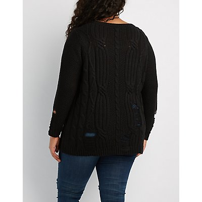 Plus Size Distressed Cable Knit Sweater Charlotte Russe