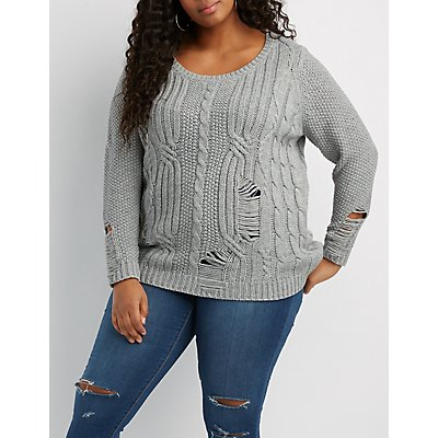 Plus Size Distressed Cable Knit Sweater