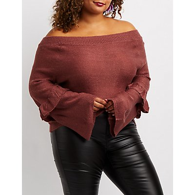 Plus Size Ruffle-Trim Off-The-Shoulder Sweater