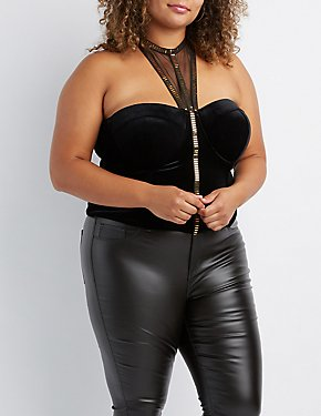 Plus Size Embellished Velvet & Mesh Corset