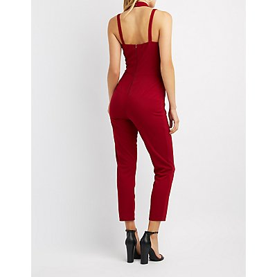 Caged Mock Neck Jumpsuit