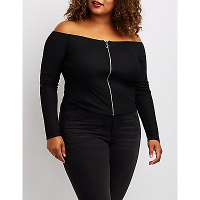 Plus Size Ribbed O-Ring Off-The-Shoulder Top