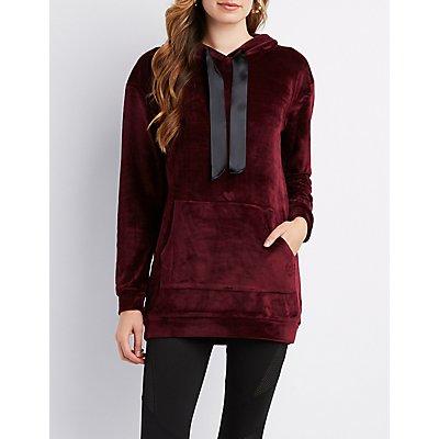 Velvet Hooded Sweatshirt