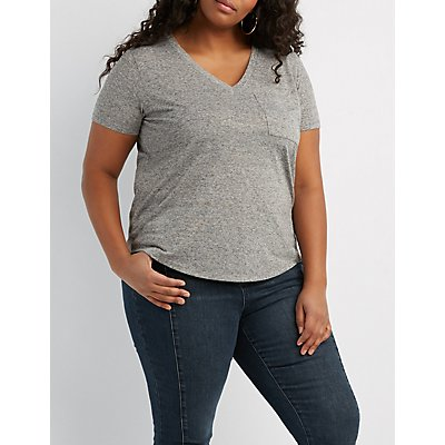 Plus Size Marled V-Neck Boyfriend Pocket Tee