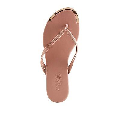 Braided Metallic-Trimmed Flip Flop Sandals