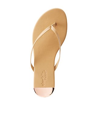 Gold-Trim Thong Sandals