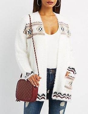 Aztec Patterned Open-Front Cardigan
