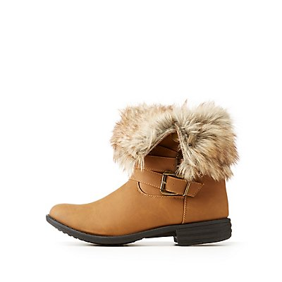Faux Fur Buckled Foldover Booties