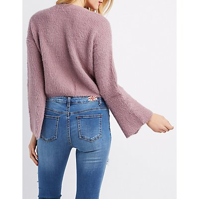 Distressed Bell Sleeve Sweater