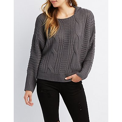 Mixed Knit Hooded Sweater