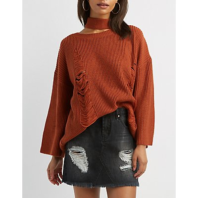 Destroyed Choker Neck Pullover Sweater