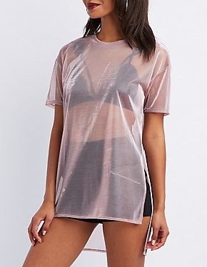 Metallic Mesh Tunic Tee