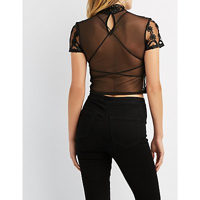 Crochet-Trim Textured Mesh Top