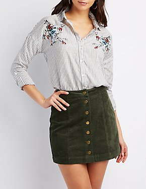 Striped & Embroidered Button-Up Top