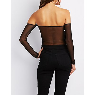 Patent Faux Leather Off-The-Shoulder Top