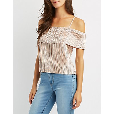 Pleated Metallic Crop Top