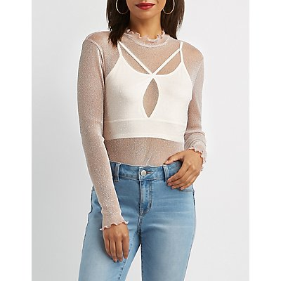 Lettuce-Trim Mock Neck Top