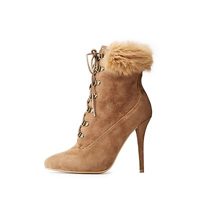 Wide-Width Lace-Up Stiletto Booties