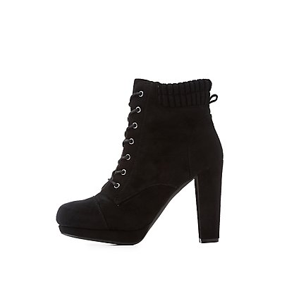 Wide Width Lace-Up Ankle Booties